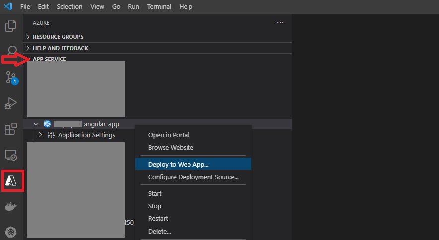 Deploy Angular App to Azure App Service Step 1