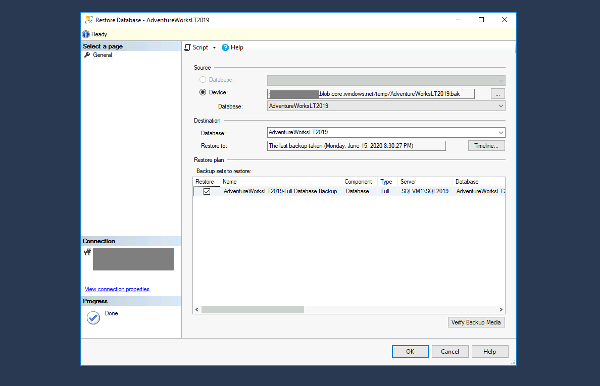 Azure SQL - Retsoring database from backup file Step 13