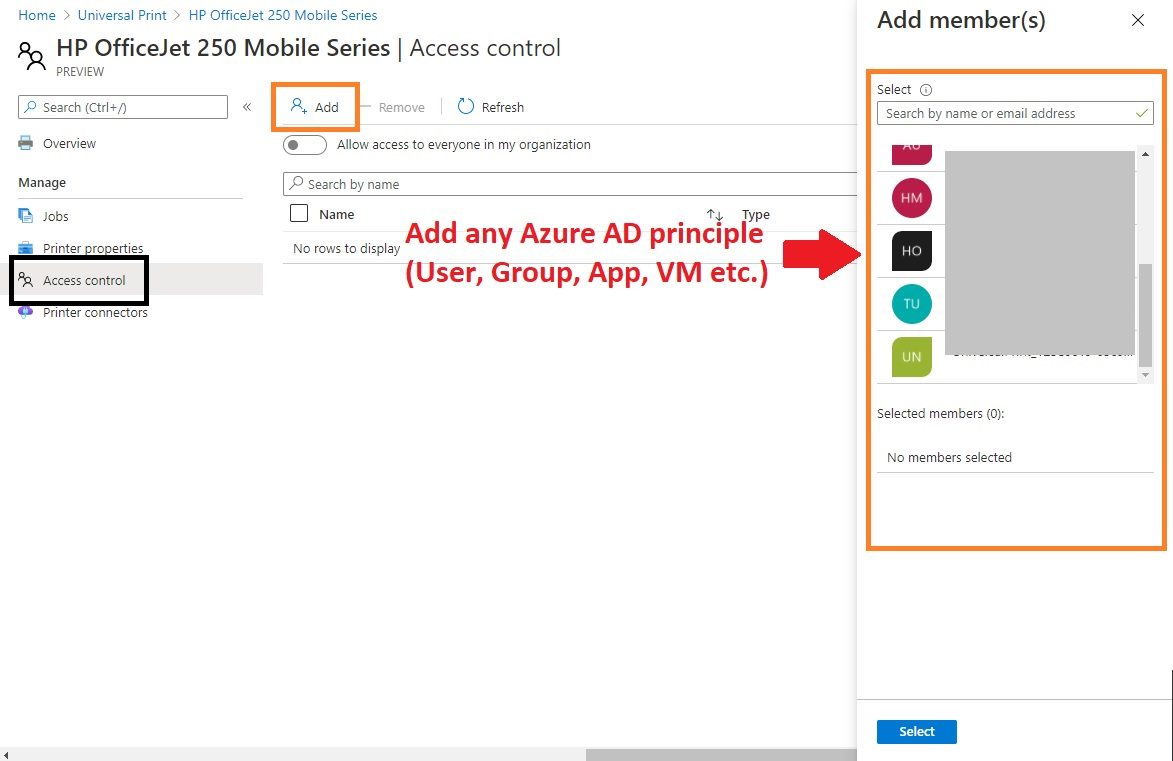 Azure Universal Print - Access control