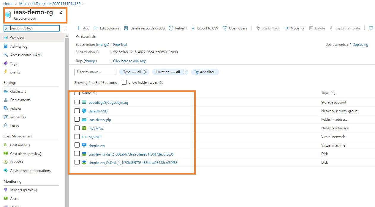 Creating Virtual Machine using ARM template Step 6