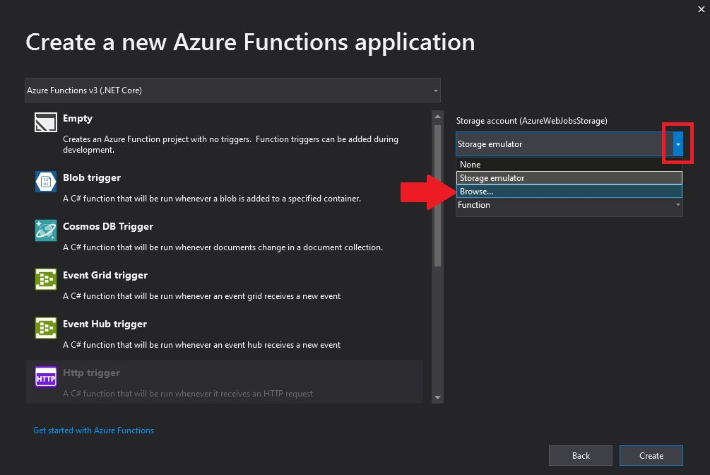 Creating Azure Function project in Visual Studio Step 4