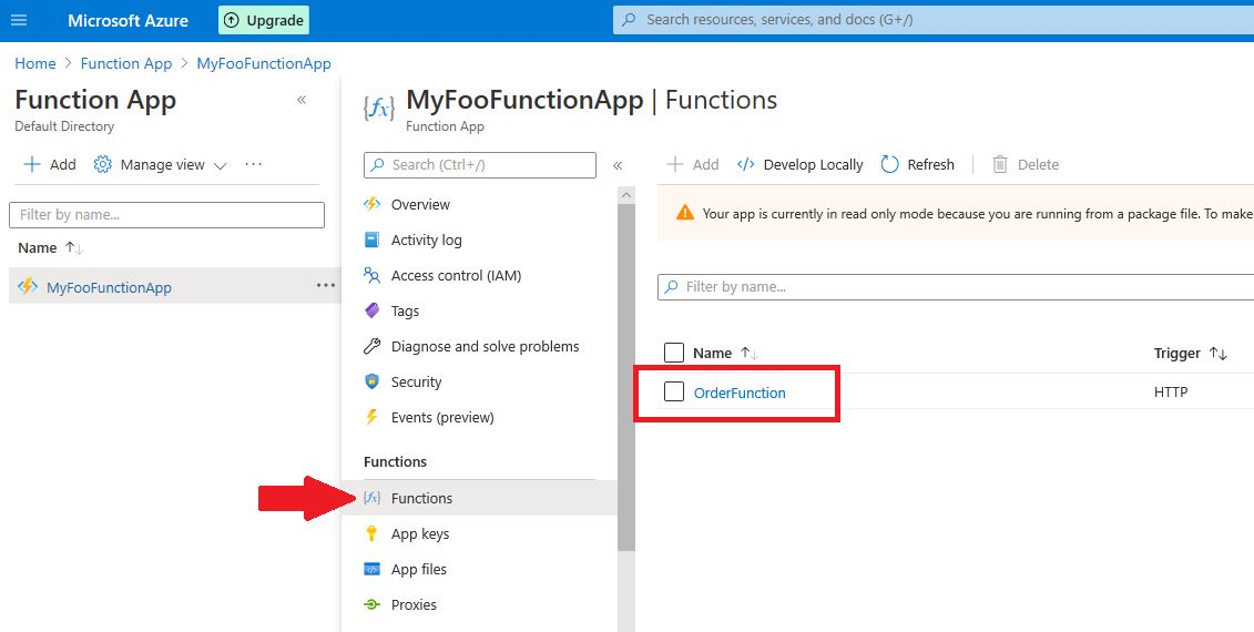Azure Function app - publish to Azure cloud and test Step 14