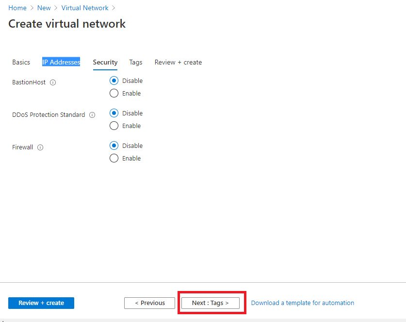 Creating virtual network using Azure portal Step 5