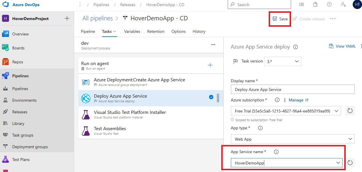 Azure DevOps Starter - Exploring CD pipeline Step 15