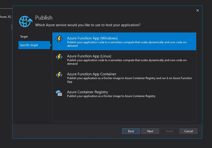 Azure Function app - publish to Azure cloud and test Step 6