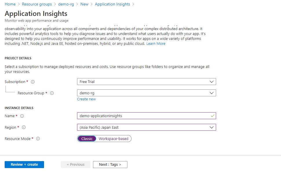 Creating Application Insights Using Azure Portal Step 1