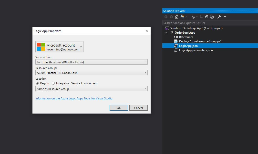 Creating Azure Logic App project in Visual Studio Step 5