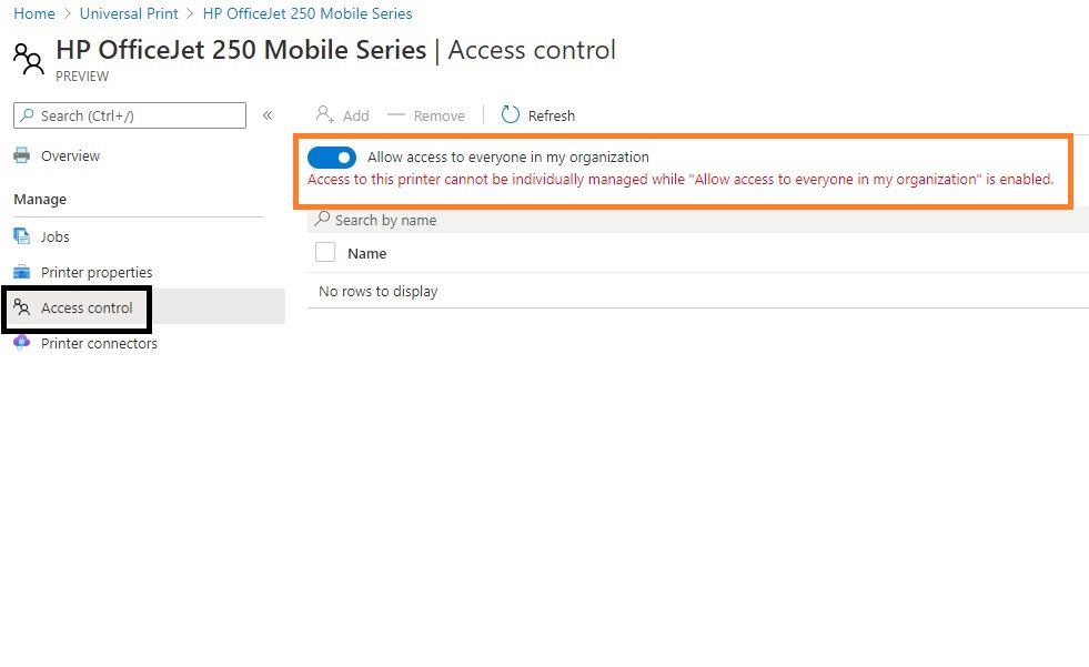 Azure Universal Print - sharing to all users in the organization