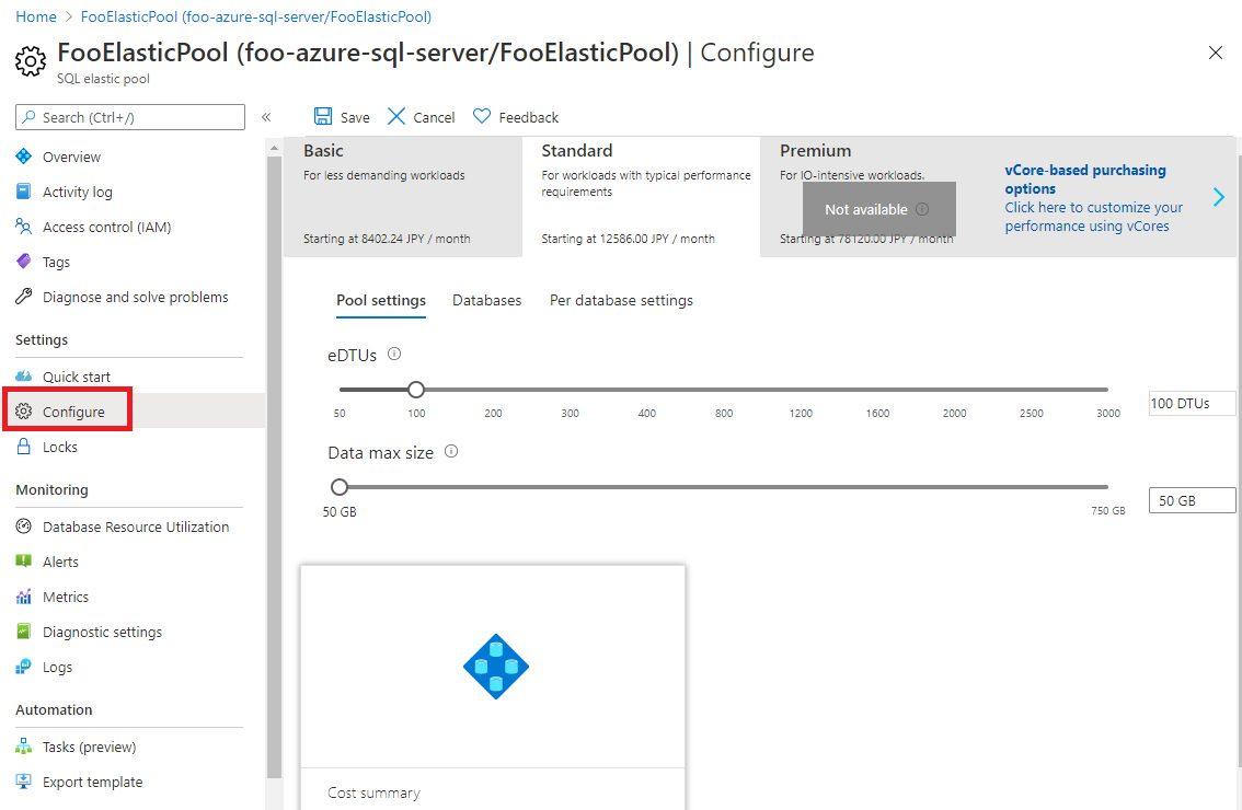 Azure SQL - Creating Elastic Pool Step 6