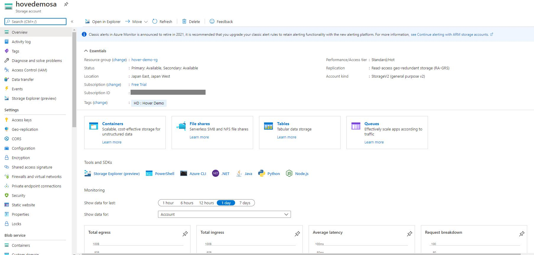 Azure storage - Create general purpose storage account Step 8