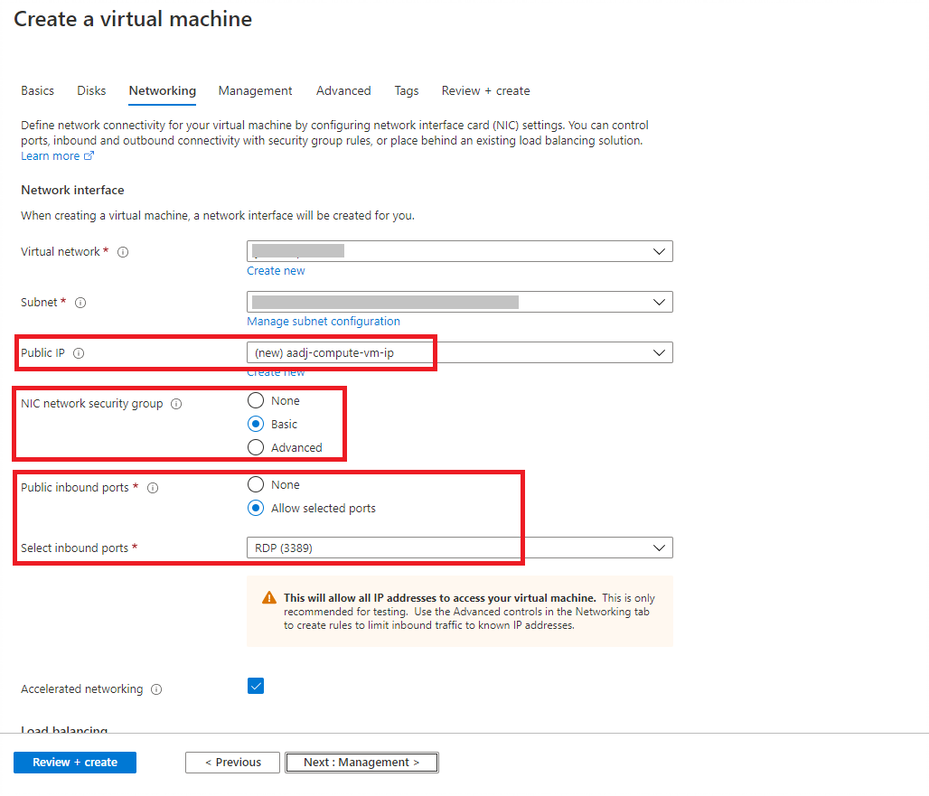 Creating Azure AD joined Virtual Machine - Windows Server 2019 as Compute VM Step 4