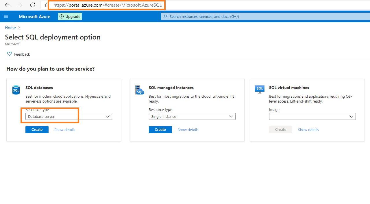 Azure SQL - Creating Database Server Step 1