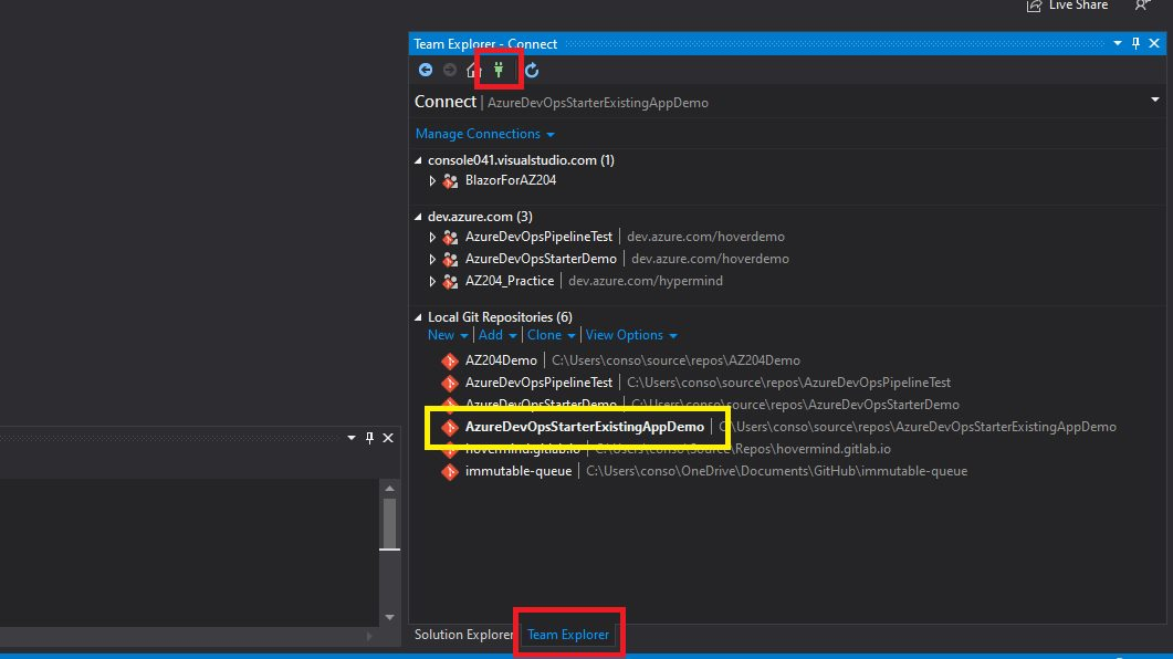 Azure DevOps - create repository from visual studio Step 2