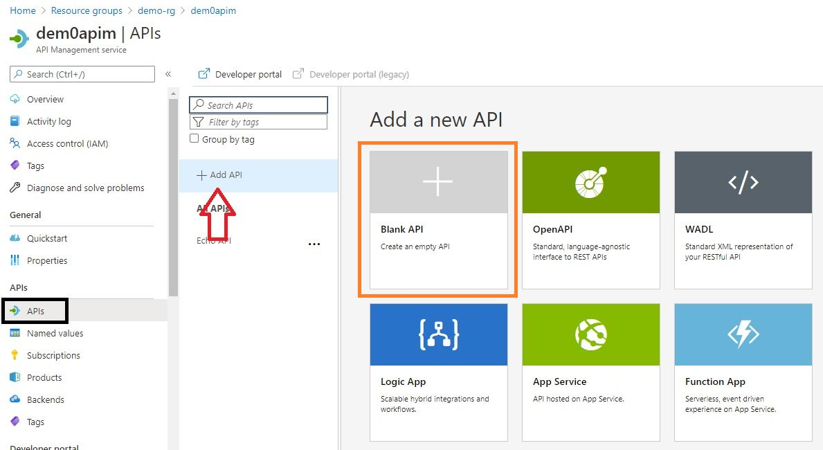 Create APIM API in Azure portal Step 1