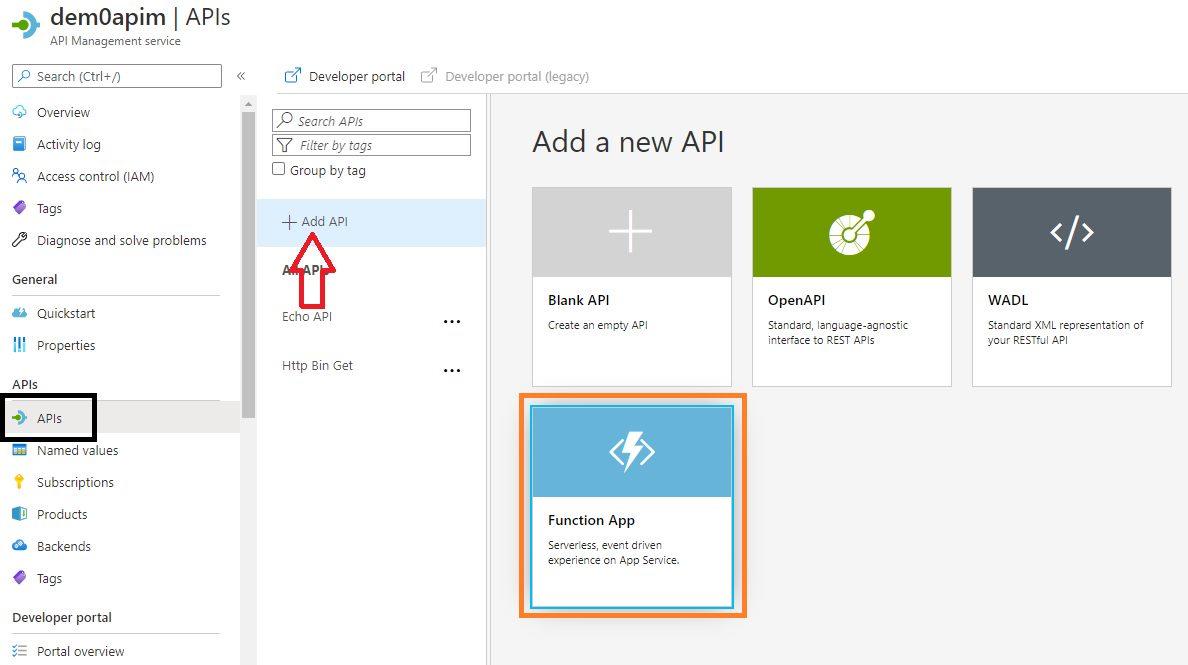 Adding Function API Step 1