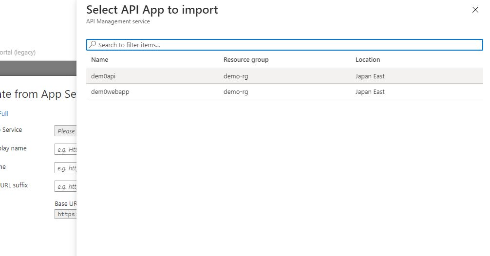 Adding existing app service API app Step 3