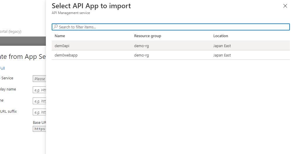 Adding existing app service API app Step 3