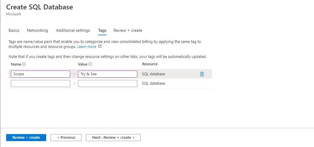 Azure SQL - Creating Single Database Step 5