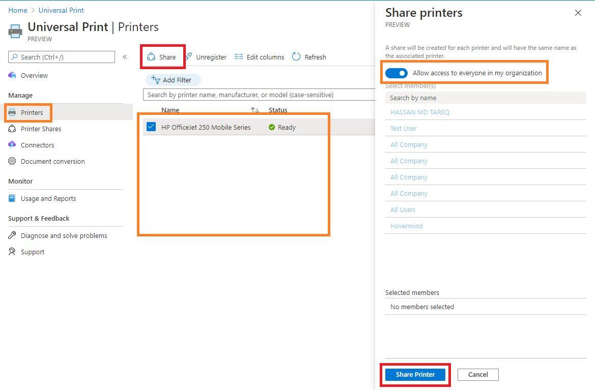 Sharing printers