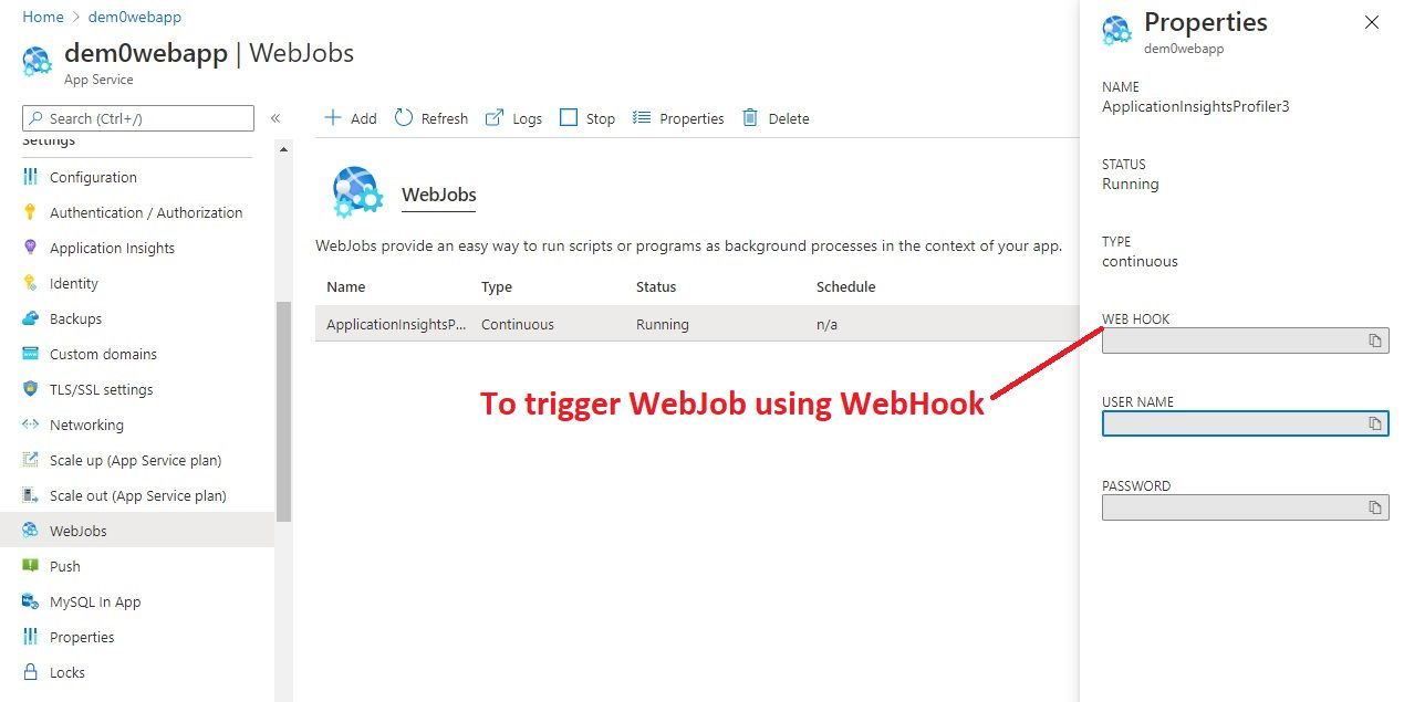 Webjobs Overview in Azure portal