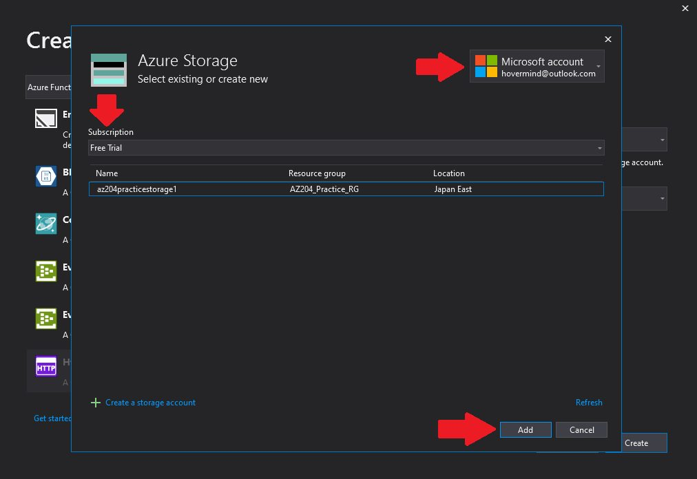 Creating Azure Function project in Visual Studio Step 5