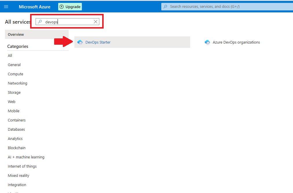 Azure DevOps Starter - create new application Step 1