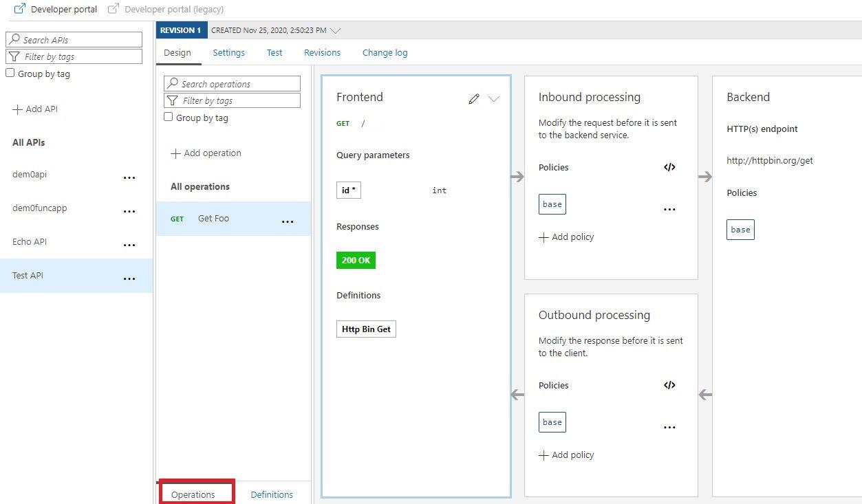 Add operation to APIM API in Azure portal Step 11