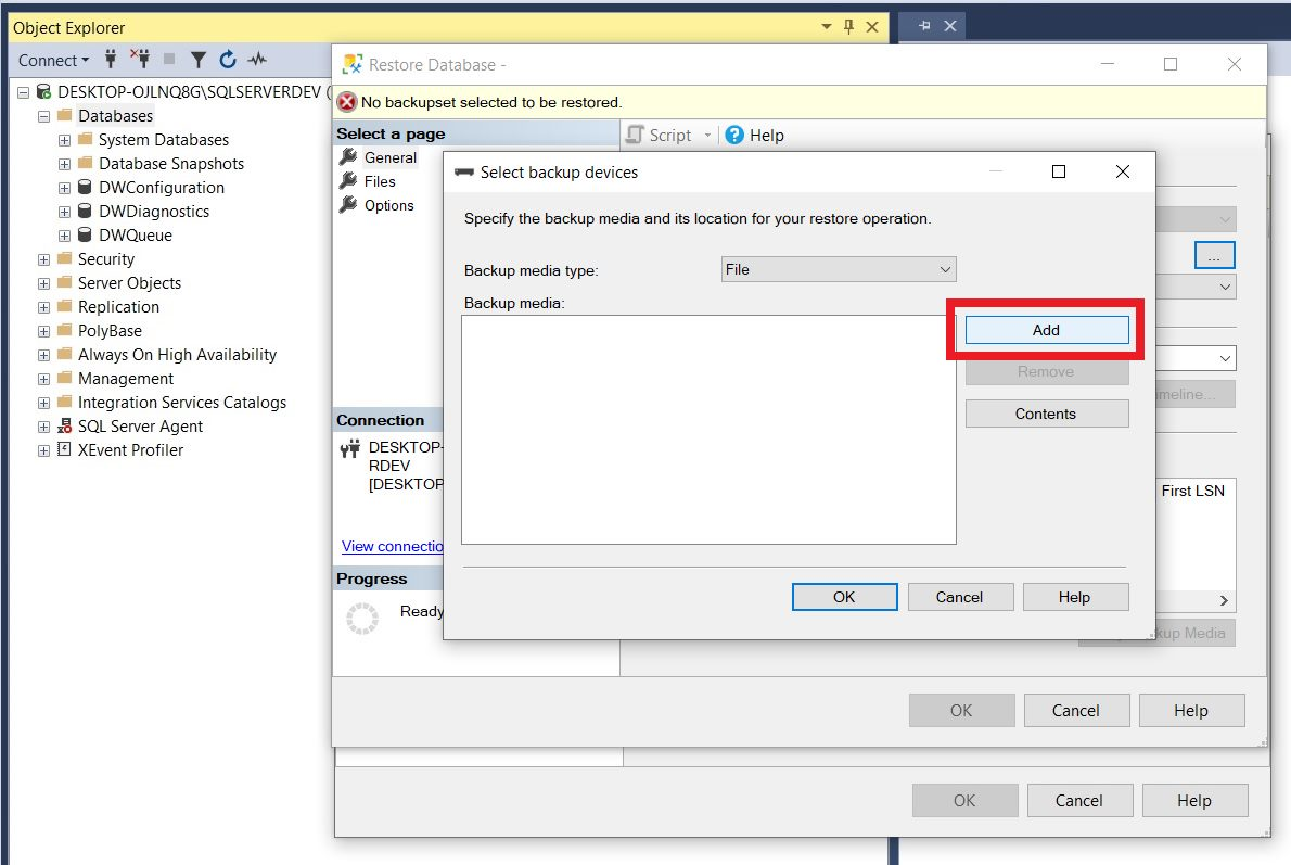 Restoring sample database from backup file using ssms Step 3