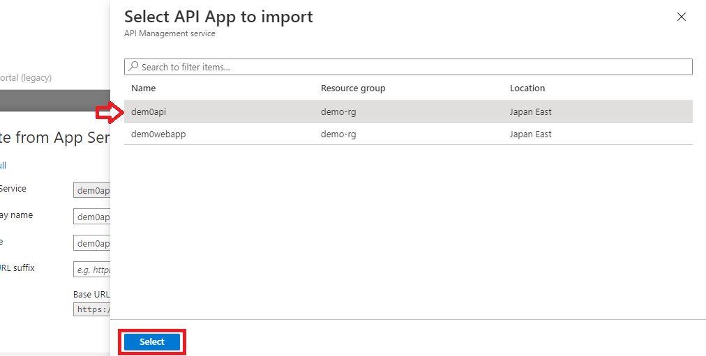 Adding existing app service API app Step 4