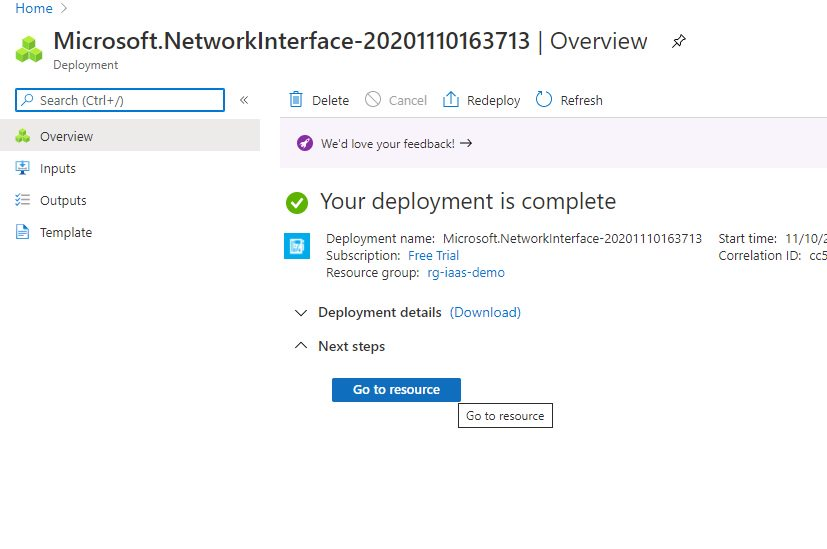Creating network interface using Azure portal Step 4
