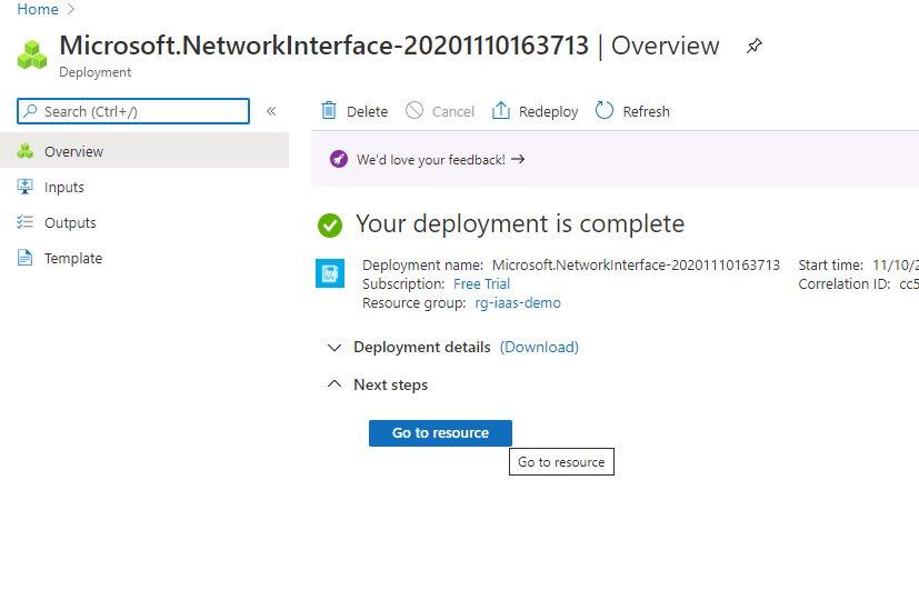 Creating network interface using Azure portal Step 4