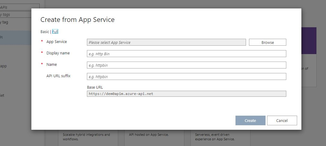 Adding existing app service API app Step 2