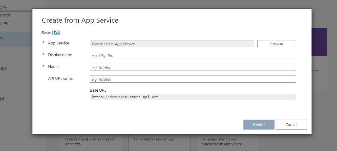 Adding existing app service API app Step 2