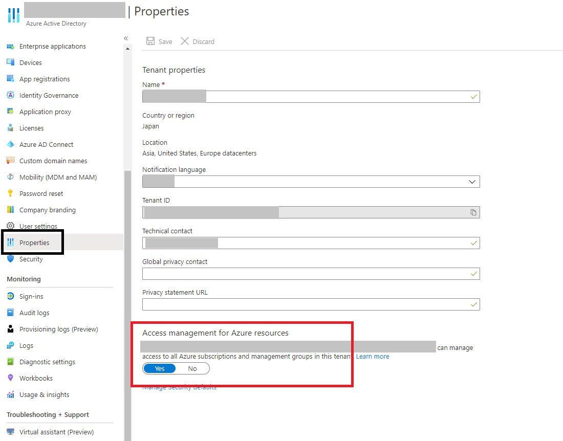 Enabling Access management for Azure resources in Azure AD
