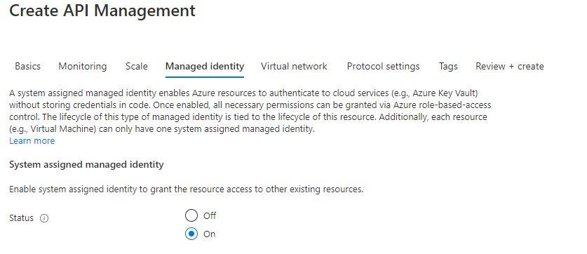 Creating API management instance Step 3