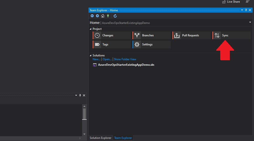 Azure DevOps - create repository from visual studio Step 3
