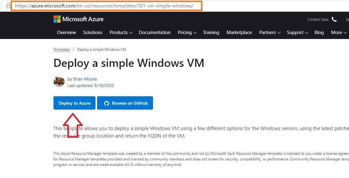 Creating Virtual Machine using ARM template Step 1