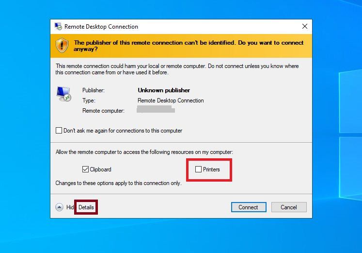 Uncheck 'printers' option when connecting to VM using RDP