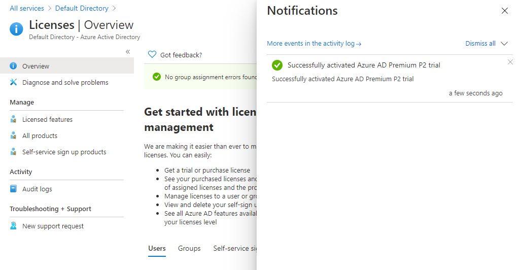 Azure Active Directory - Activate premium license free trial Step 4
