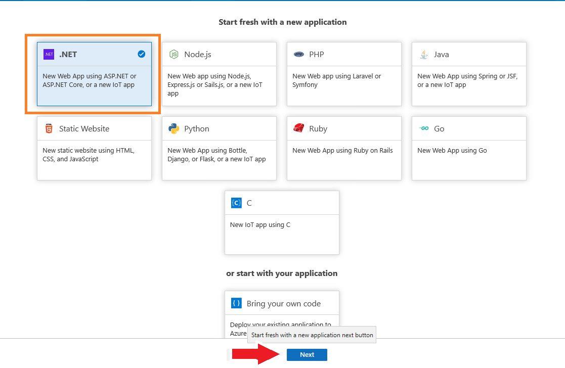 Azure DevOps Starter - create new application Step 3