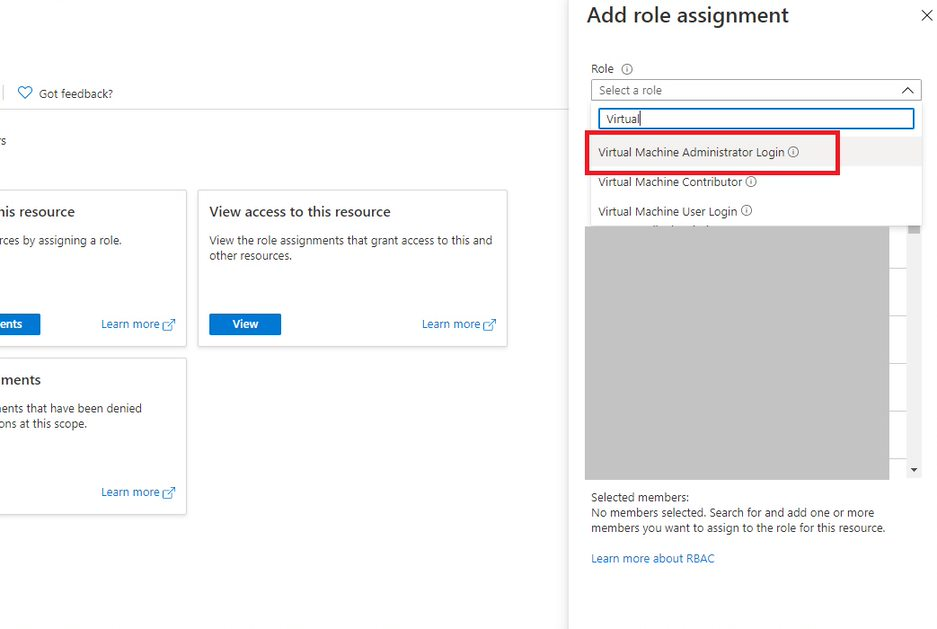 Role assignment for Azure AD joined VM Step 2