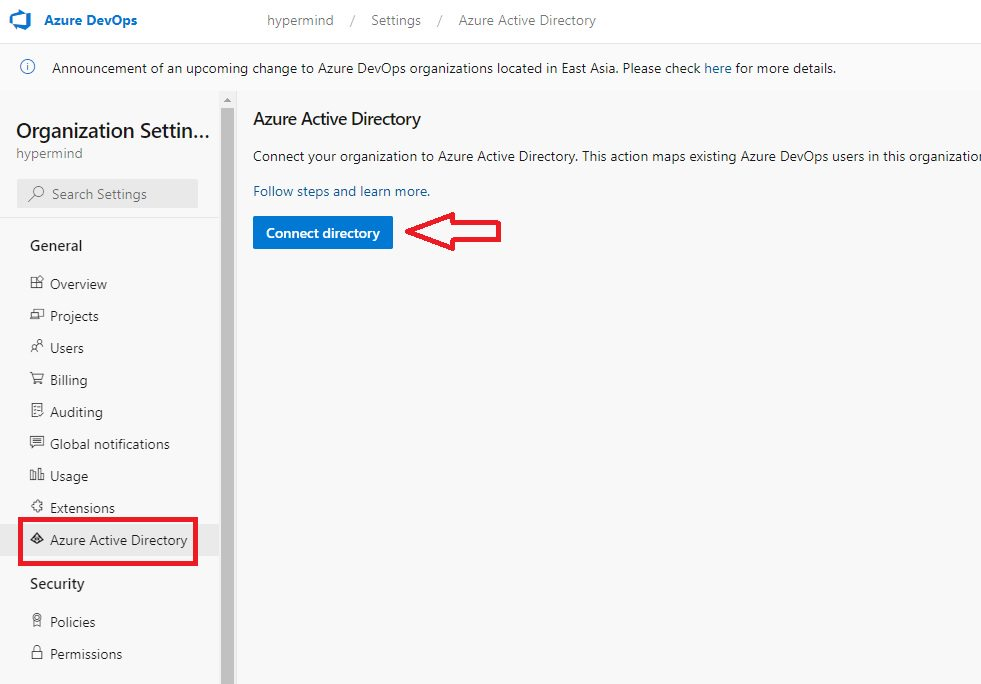 Connecting Azure AD Step 2