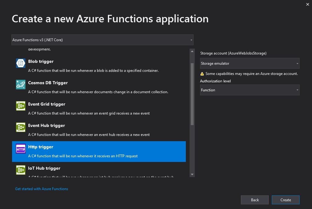 Creating Azure Function project in Visual Studio Step 3