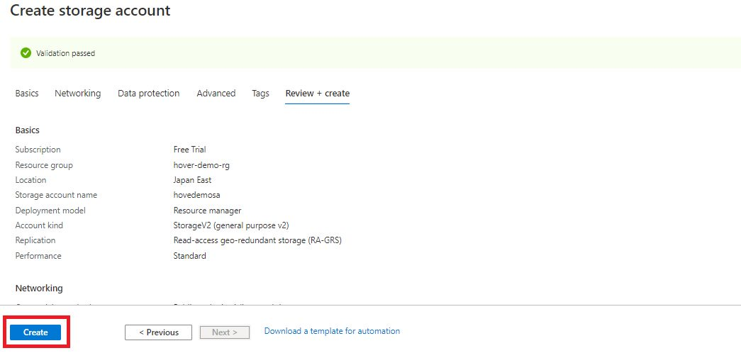 Azure storage - Create general purpose storage account Step 6