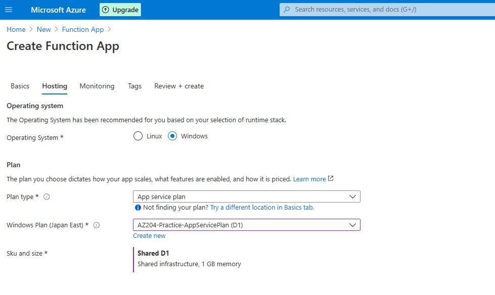 Azure Function app - publish to Azure cloud and test Step 2