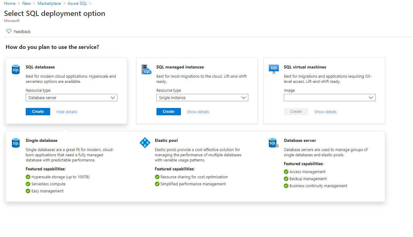 Templates for SQL Server Database in Azure Marketplace