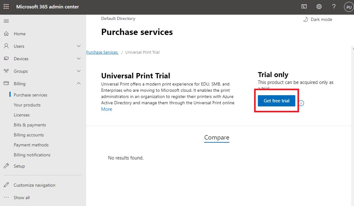 Try Azure Universal Print Step 3