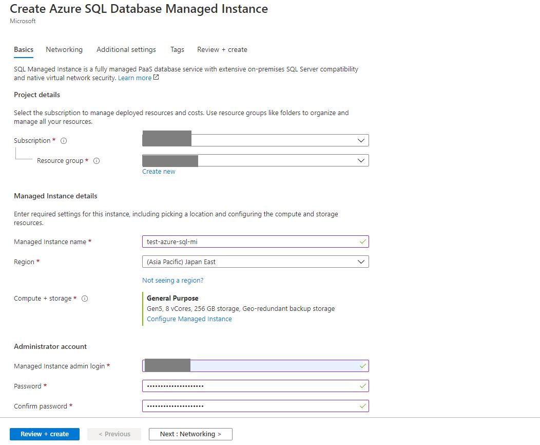 Azure SQL - Managed Instance Step 1
