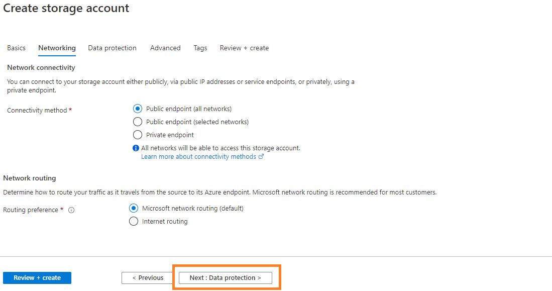 Azure storage - Create general purpose storage account Step 2
