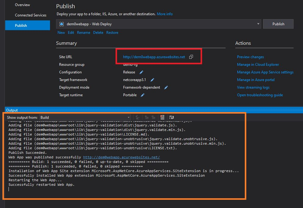Publishing Web App Project from Visual Studio Step 6
